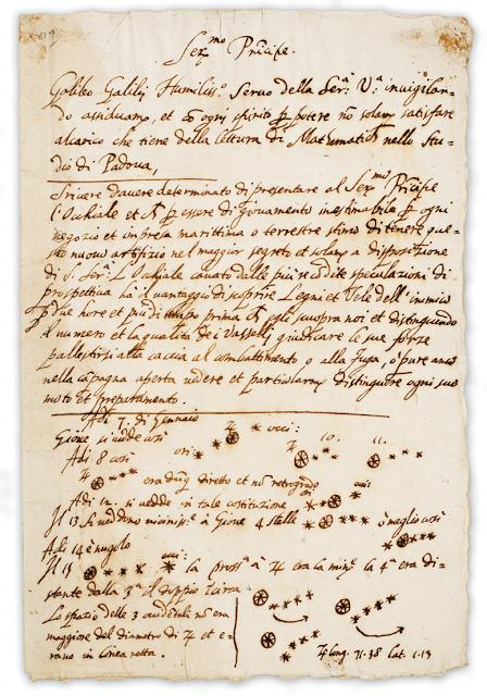 Bản thảo bức thư của ông Galilei gởi tới ông Leonardo Donato là tổng trấn của Venice vào tháng 8 năm 1609 và phần ghi chú bên dưới về các mặt trăng của hành tinh Mộc được viết vào tháng 1 năm 1610. Bản thảo này được lưu giữ lại bởi Tracy W. McGregor và nó là một thứ rất có giá trị đối với thư viện của Đại học Michigan.