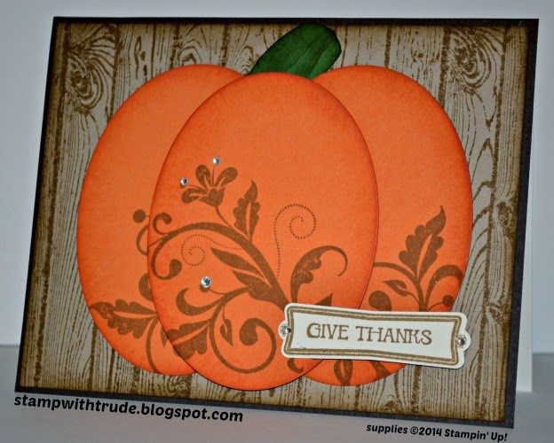 Pretty Pumpkin card, Stampin' Up!, by Trude Thoman, stampwithtrude.blogspot.com , Flowering Flourishes, And Many More, Hardwood, Label Something, Oval framelits
