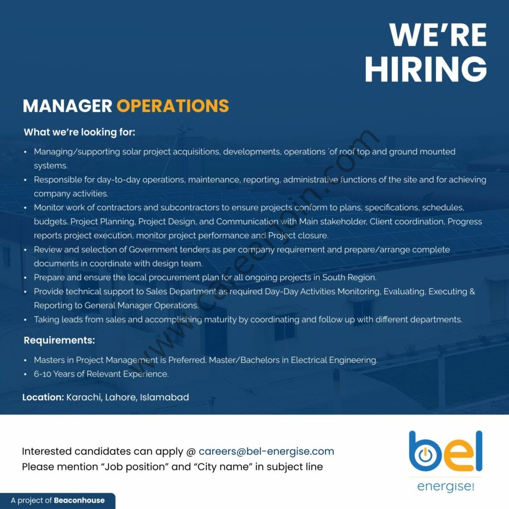 Beacon Energy Pvt Ltd Jobs Manager Operations