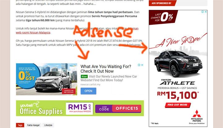 Cara Iklan Adsense dipaparkan Dalam Sesebuah Blog