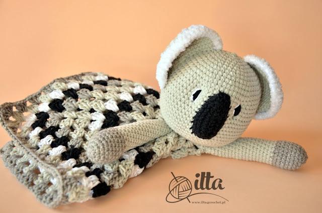 niemowlę szydełko kocyk zabawka koala miś