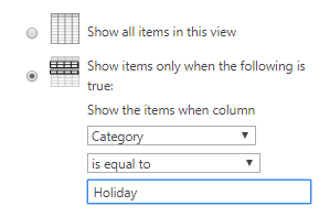 Calendar filtered to holidays