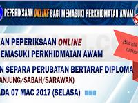 SEMAKAN PEPERIKSAAN ONLINE LATIHAN SEPARA PERUBATAN BERTARAF DIPLOMA 2017