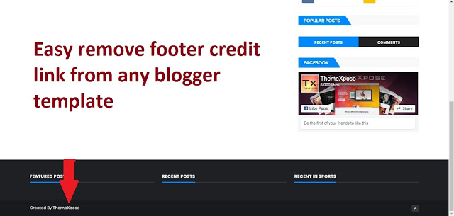 Remove Footer Copyright Links From Blogger Template Without Redirecting.
