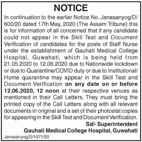 GMCH Recruitment of Staff Nurse 2020