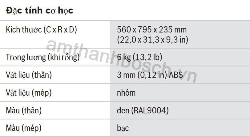 Thông số kĩ thuật của hộp đựng CCS‑SC6