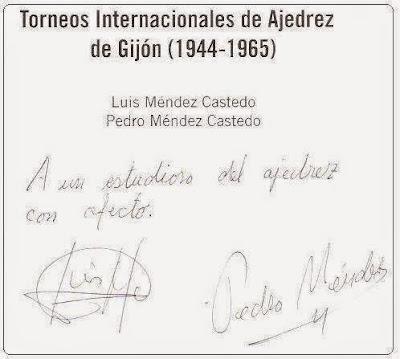 Dedicatoria en el Torneos Internacionales de Ajedrez de Gijón (1944-1965)