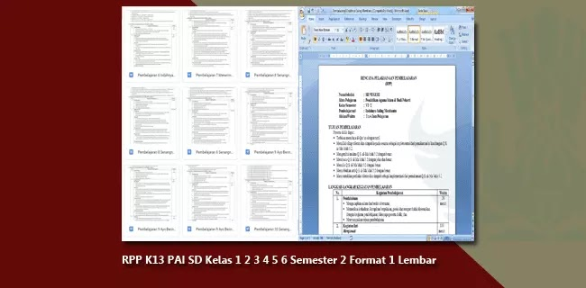 RPP K13 PAI SD/MI Kelas 1 2 3 4 5 6 Semester 2 Format 1 Lembar Halaman Revisi 2020