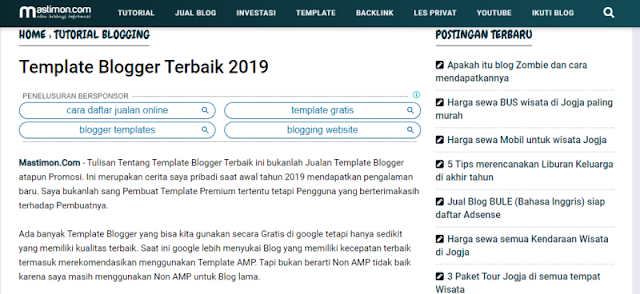 Template Blog Mastimon yang ringan