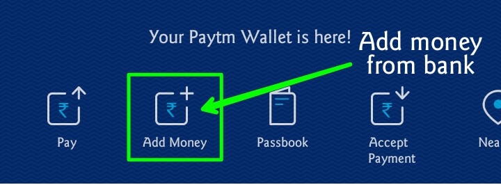 option for add money to paytm wallet