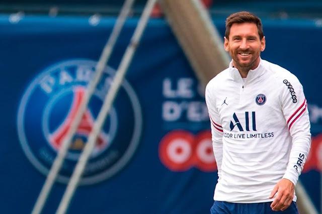 PSG forward Lionel Messi in training
