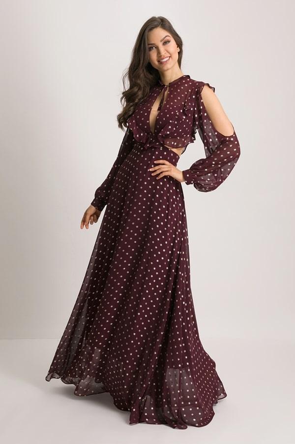 vestido longo poa vinho para casamento