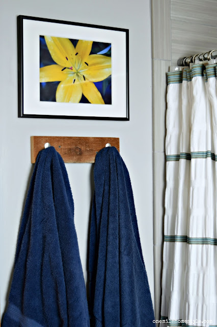 Rustic Modern bathroom makeover, featuring easy DIY towel hooks