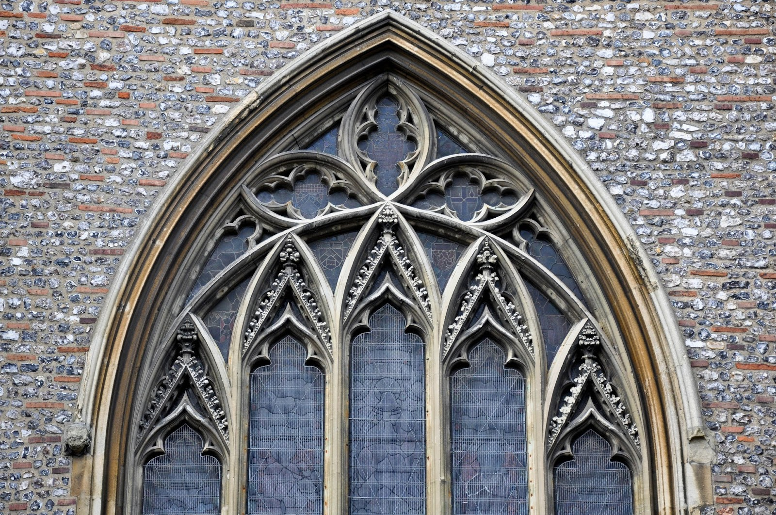 A close-up of a window, St. Albans Cathedral, England