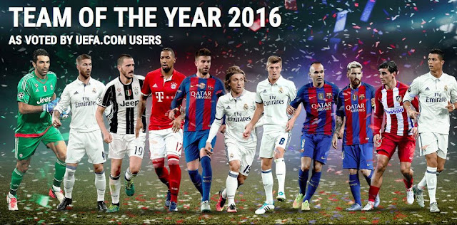 UEFA revela o time do ano de 2016