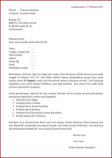 Contoh Surat Lamaran Kerja Untuk IT Support (Fresh Graduate) Berdasarkan Informasi Dari Media Sosial