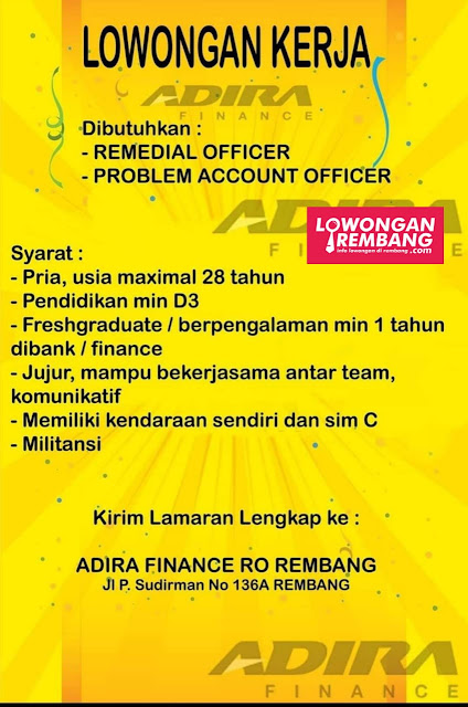Lowongan Kerja Remedial Officer Dan Problem Account Officer Adira Finance Rembang