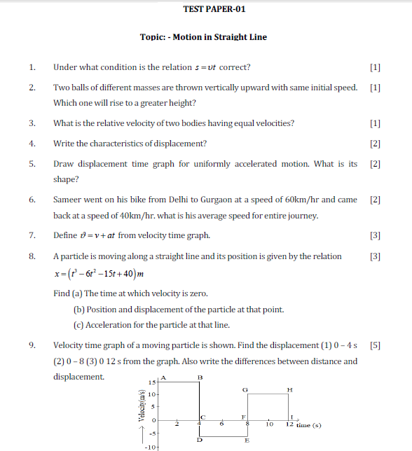 motion in a straight line,displacement,range,motion in a plane,iit,jee test paper,law of motion ,kinematics, Test paper,solved test paper,important questions for exam,class 11 physics