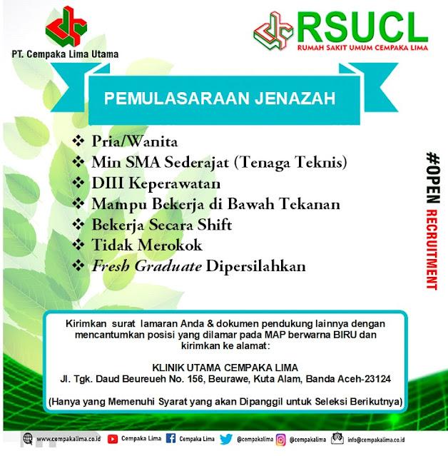 Lowongan Kerja Sebagai Pemulasaraan Jenazah RSU Cempaka Lima Aceh Tahun 2020