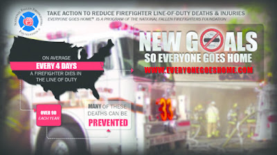 "National Fallen Firefighter Foundation ""New Goals"" poster (on average a firefighter dies in the line of duty every 4 hours...many can be prevented"