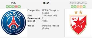 انتهت مباراه باريس سان جيرمان وسرفينا زفيزدا 3-10-2018 بفوز باريس بنتيجه 6 - 1