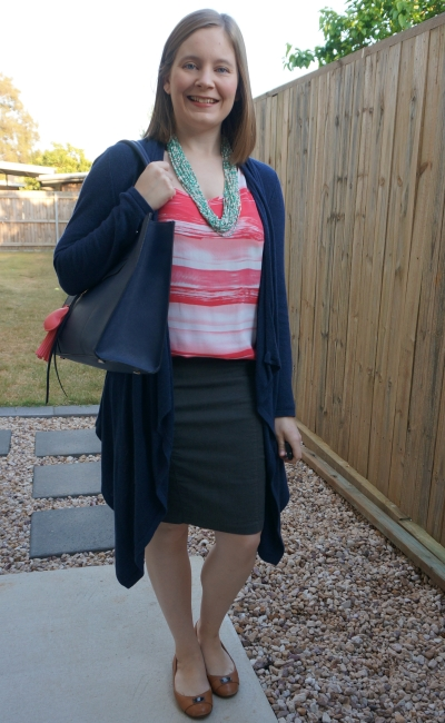 coral striped tank with navy waterfall cardigan grey pencil skirt and turquoise necklace | away from blue