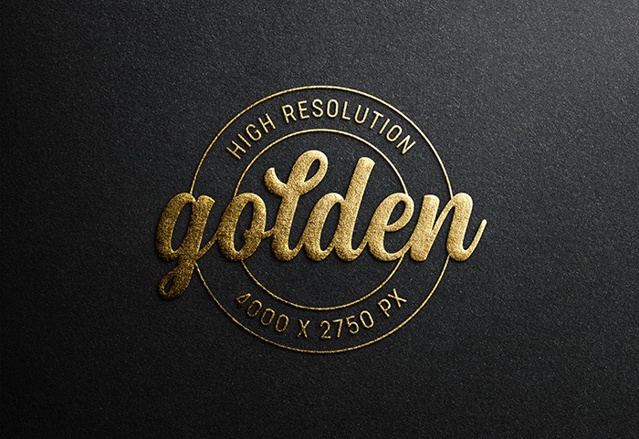 Logo Mockup Black Paper With Gold Embossed Effect