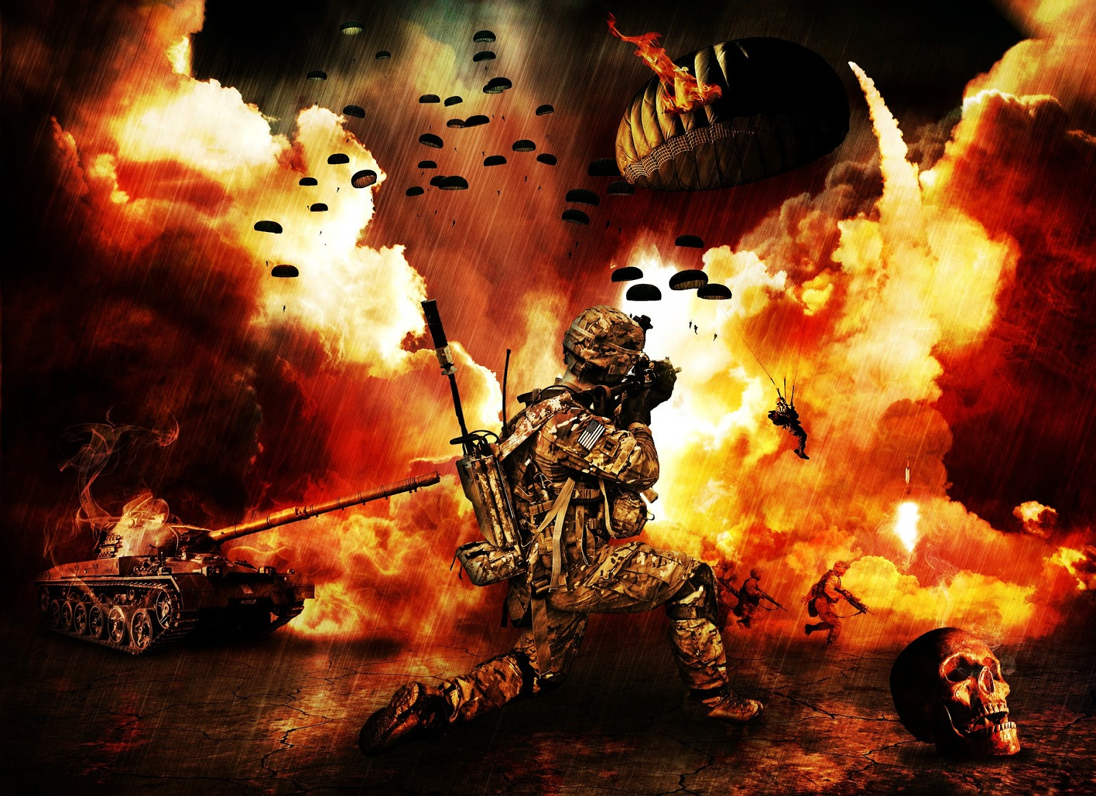 an animated picture of a soldier kneeling in front of an exlposion with tanks and parachuting.to ilustrate a blog post about war is hell