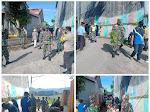 TNI, Bhabinkamtibmas, Pemlur dan Mahasiswa KKN Unram Gotong-Royong Pembersihan Parit di Dorotangga