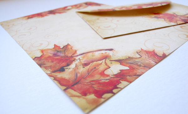 Upclose photo Vintage Fall Border Paper and Crescent Envelope from Paper Direct