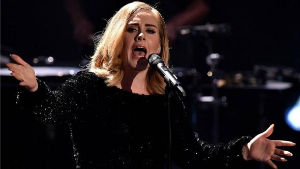 Fan interrumpe el show de Adele para ofrecerle una bebida a la cantante.