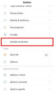 Setelan Tambahan di Android Xiaomi