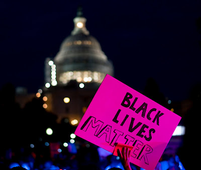 """Black Lives Matter"" sign at a 2016 protest in front of the U.S. Capitol."