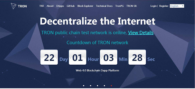 Tron MainNet countdown from http://tron.network