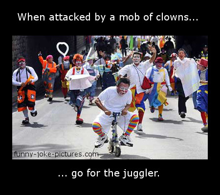 Funny Clown Mob Punolgy Joke Picture