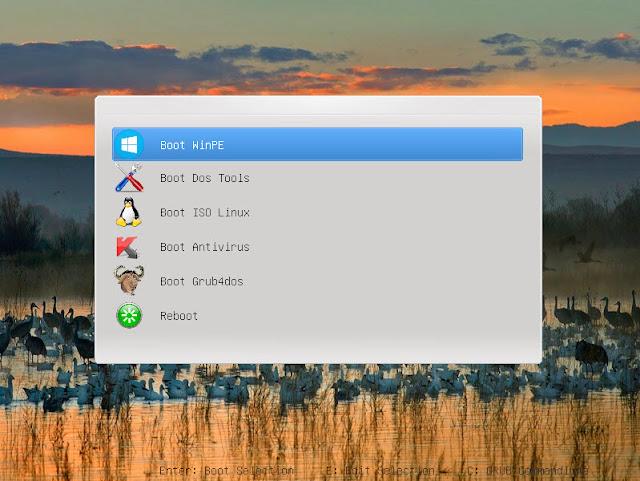 Usb boot sự kết hợp giữa Grub2 Windows 10 Pe Ubuntu 16.04 và Kaspersky Rescue Disk 10