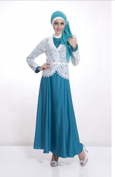 Model Brokat Dress Berkombinasi Satin Menawan Fashion Terkini