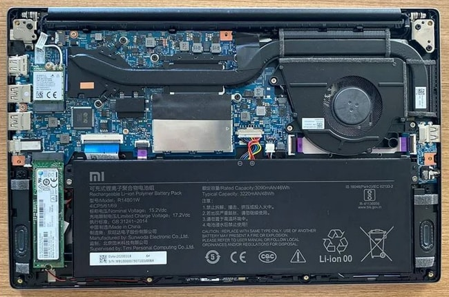 Removed the bottom panel from laptop.
