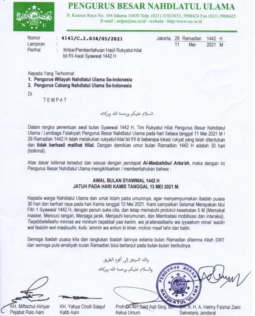 PBNU Umumkan Hari Raya Idul Fitri Jatuh Pada Kamis 13 Mei 2021