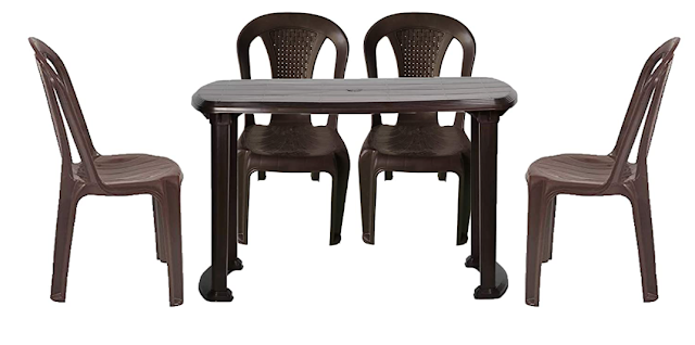 RW REST WELL Dream Without arm/armless WOA Plastic Chair & Arjun Dining Table for Home & Garden