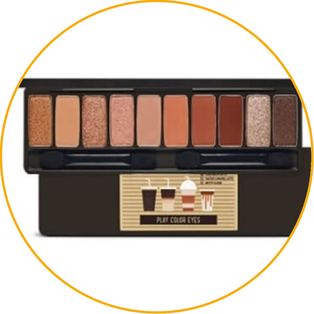 Etude House Play Color Eyes #Caffeine Holic The perfect combination of matte and shimmery colors will make your eye makeup look even more gorgeous. Korean eye makeup is usually minimalistic with a fair amount of glitter as the main point. The Play Color Eyes palette of the Caffeine Holic series from Etude House offers ten beautiful colors, a combination of matte and shimmery. The colors also match the nuances of coffee, namely brown, black, beige and a little pink which can be combined according to taste.  The pigmentation of this eyeshadow is arguably very good because it doesn't require many layers to reach the desired color intensity. The glitter beads found in several colors in this palette are quite large and can be used for bling-bling makeup.