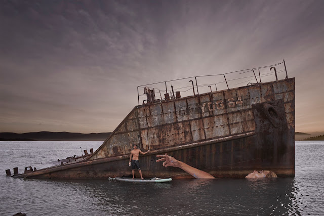 """After stumbling upon this old sunken ship in Hawaii, Sean Yoro aka Hula was inspired by the way the tide crept in and out daily. This routine either had the boat emerging from or sinking back into the water. Entitled """"Ho'i Mai"""" which is literally translated to """"Come Back""""."""