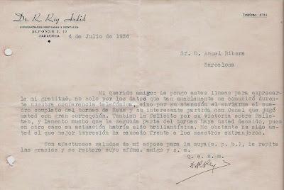 Nota de Rey Ardid a Ribera de 1936