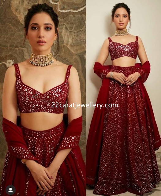Tamannah in Shimmer Red Lehenga