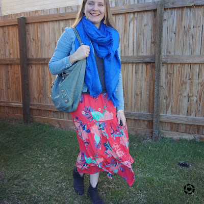 awayfromblue Instagram layering kmart floral maxi dress for winter brithday party with denim jacket louis vuitton shawl scarf balenciaga bag