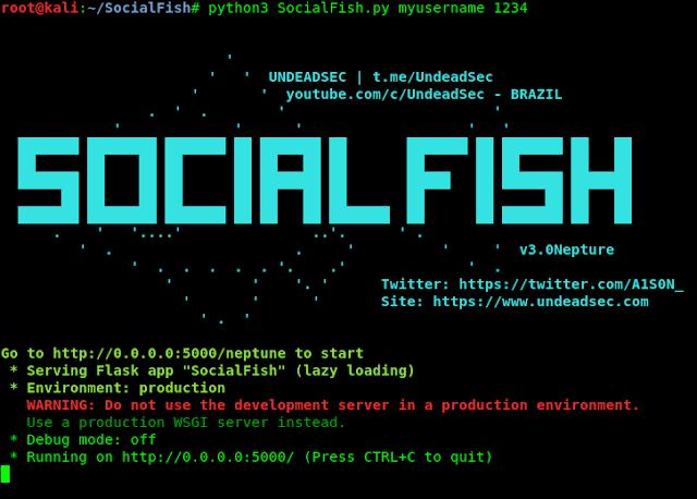 socialfish v3 pshishing kali linux