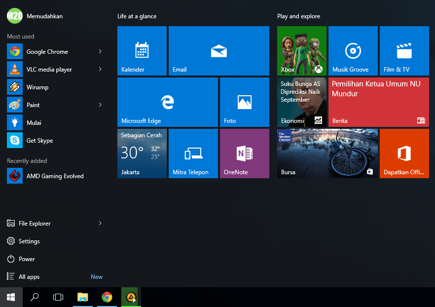 Start Menu Windows 10 Final