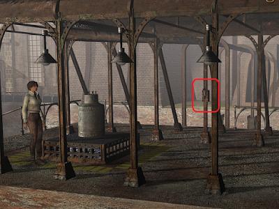металлический цилиндр с рычагом под лампой в игре сибирь