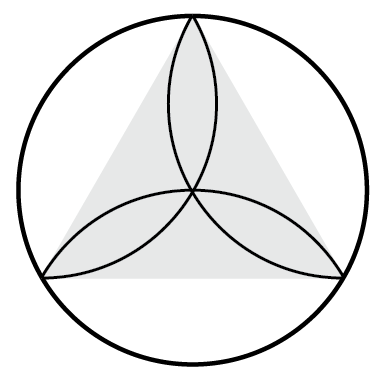 Circle with 3 Vesica Piscis measuring out an Equilateral Triangle (by Lori Tompkins)