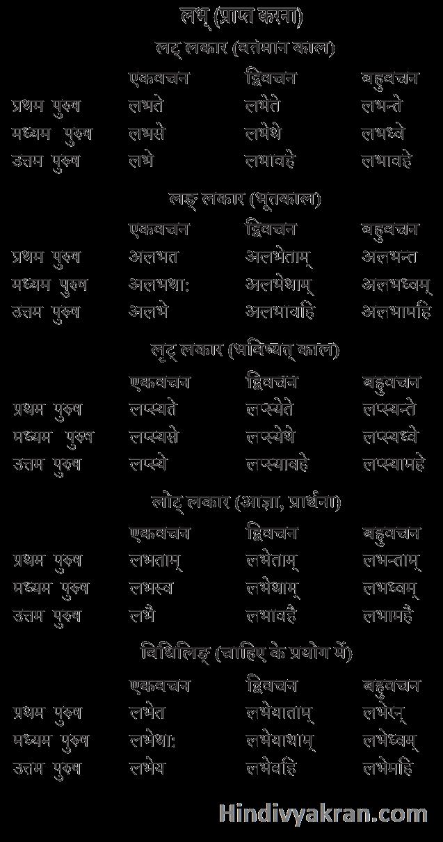 लभ् धातु के रूप संस्कृत में – Labh Dhatu Roop In Sanskrit